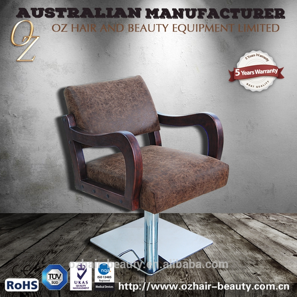 Wholesale Hydraulic Salon Furniture Industrial Style Barber Chair Salon Chairs With Wooden Armrest