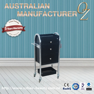 Low Price Australian Quality Beauty Hair Salon Carts All Purpose Black Trolley Salon Equipment Trolley