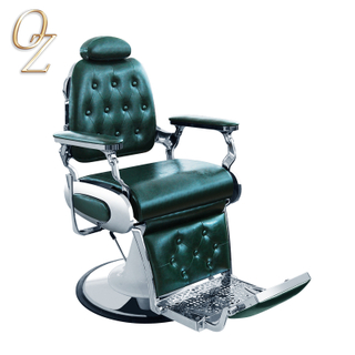 High Quality Green Men Hair Cutting Chair Heavy Duty Man Styling Chair Classic Vintage Barber Chair Barbershop