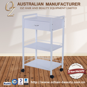 Beauty Equipment Portable Beauty Trolley Wooden Salon Cart Beauty Spa Trolley White Melamine Board
