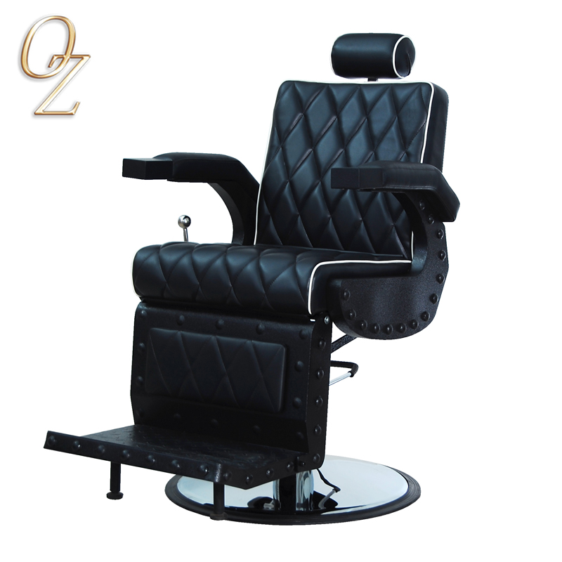Lockable Hydraulic Brown Barber Station Chair Loft Style Industry Barber Salon Chair